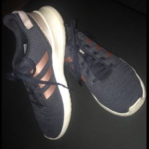 Navy Blue and Rose Gold Adidas